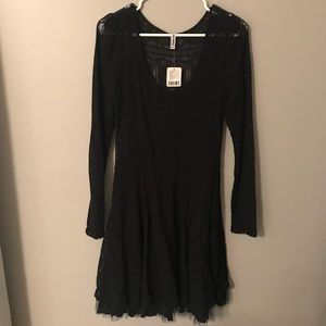 Free People Black Lace Dress NWT